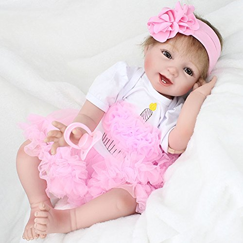 22' Newborn Reborn Baby Dolls Handmade Lifelike Soft Silicone Vinyl Realistic Doll Looking Real Toddlers Toys New Year Birthday Gift (22' Pink Bags)