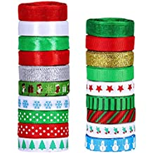 """19 Rolls 135 Yard Christmas Ribbons Trims Printed Grosgrain Ribbons Multicolor Organza Ribbons Satin Ribbons Metallic GlitterRibbons 3/8"""" Wide for Winter Holiday Festival Season Gift Wrapping Party"""