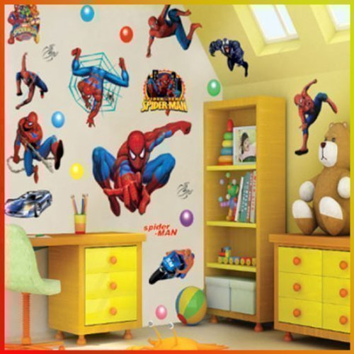 Spiderman Wall Stickers With Decor Decal Art For Kids Nursery Bedroom.:  Amazon.co.uk: Kitchen U0026 Home