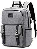 Vintage Laptop Backpack for Women Men Stylish Backpack College School Backpack with USB Charging Port Business Travel Durable Backpack Fit 15.6 inch Laptop Grey