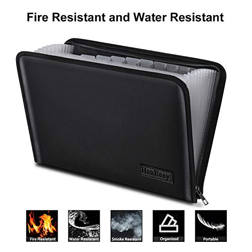 (File Folder Document Organizer Pouch - Fire Resistant Water Resistant Filing Organizer Accordion Document Organizer Bag Office Expanding File Folder)