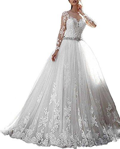 vestidos encaje boda Blanco larga de manga Mujeres Vestidos Vestidos de de baile de 2017 novia la ANJURUISI de qHOYtTq