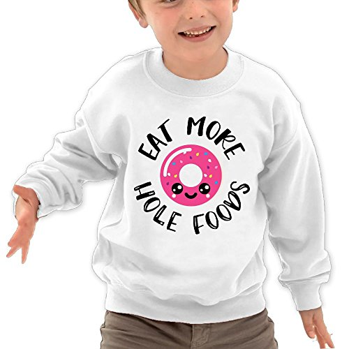 Puppylol Eat More Hole Foods Kids Classic Crew-neck Pullover Hoodie White 5-6 Toddler (And Christmas Rodgers Aaron Lloyd)