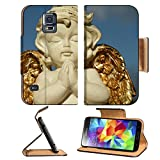 Samsung Galaxy S5 praying little angel figure with golden wings isolated on sky IMAGE 37104271 by MSD Customized Premium Deluxe Pu Leather generation Accessories HD Wifi Luxury Protector