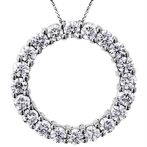 VIP Jewelry Art 3.00 CT TW Round Diamond Eternity Pendant in 18k White - Eternity Necklace White Gold 18k Diamond