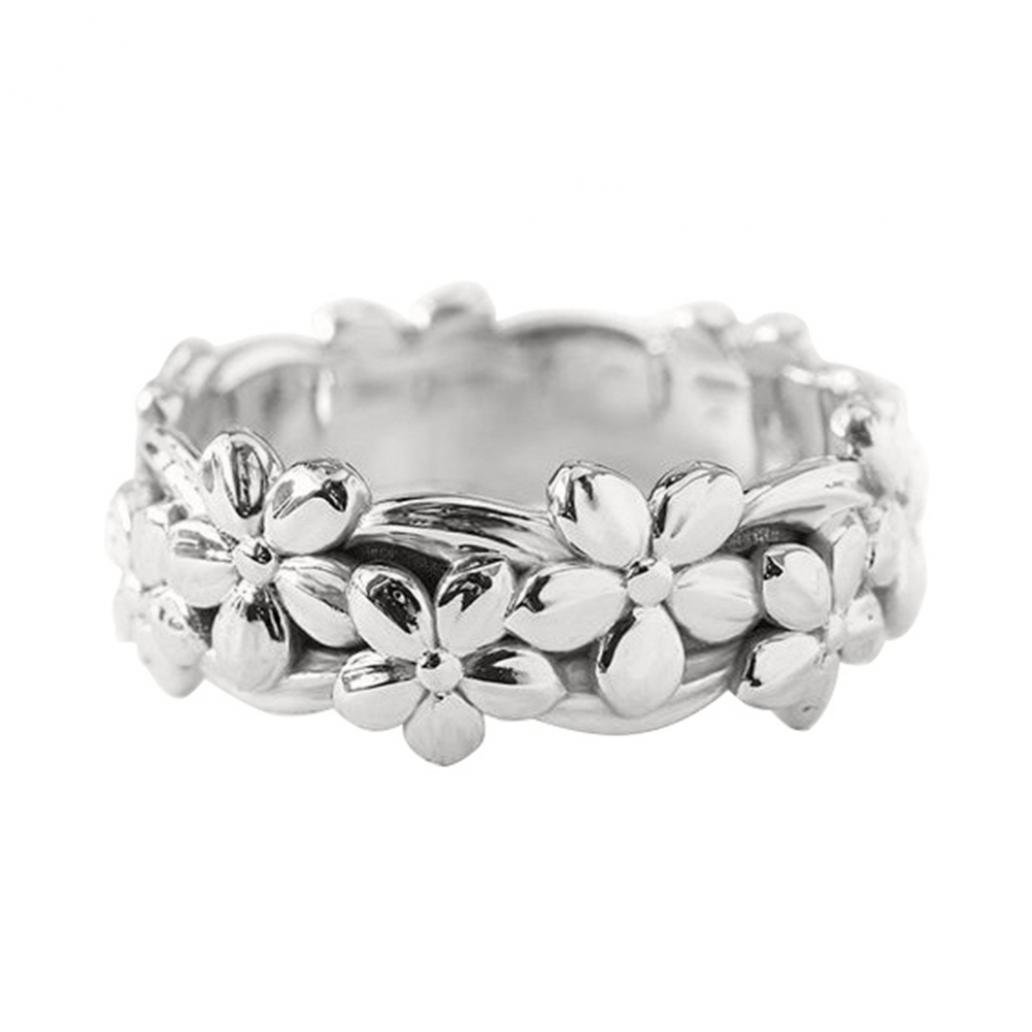 Buyanputra Charm Daisy Flower Metal Women Ring Engagement Finger Ring size US 5 (Silver)