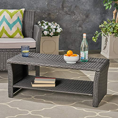 Black Wicker Coffee Table: Christopher Knight Home Justin Outdoor Wicker Coffee Table