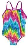 Speedo Girls Thin Strap One Piece Swimsuit (10, Rainbow Zig Zag)