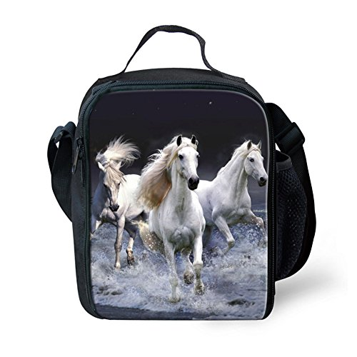 (HUGS IDEA Stylish Animal Crazy Horse Print Thermal Lunch Bags for Kids)