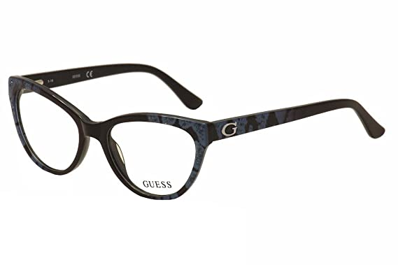 cbea45492b Guess Eyeglasses GU2554 GU 2554 005 Black Bright Blue Cat Eye Optical Frame  52mm