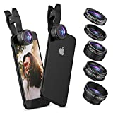 UMTELE 5 in 1 iPhone Camera Lens, 2X Zoom Telephoto Lens + 230° Fisheye Lens + 0.5X Wide Angle Lens + 15X Macro Lens + CPL Filter Lens for iPhone X 8 7 6 Plus and Smartphones