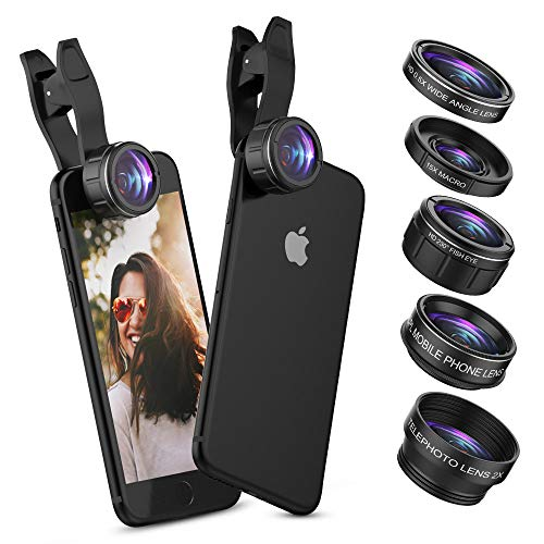 UMTELE 5 in 1 iPhone Camera Lens, 2X Zoom Telephoto Lens + 230° Fisheye Lens + 0.5X Wide Angle Lens + 15X Macro Lens + CPL Filter Lens for iPhone X 8 7 6 Plus and Smartphones by UMTELE