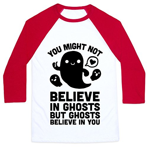 You Might Not Believe in Ghosts But Ghosts Believe in You White/Red XL Mens/Unisex Baseball Tee by LookHUMAN (Halloween 89123)