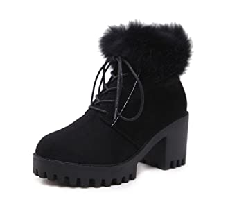 KUKI Zapatos femeninos, Botas femeninas, Botas, Botas Martin, Negro, Cordones,