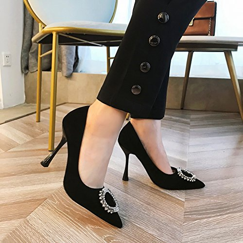 Work Buckle Lady With Fashion Rhinestone 8Cm Single Match High 34 Point A Elegant Thin Shoes Heels Leisure Fine Spring Shoes MDRW All Black wYdFEqY