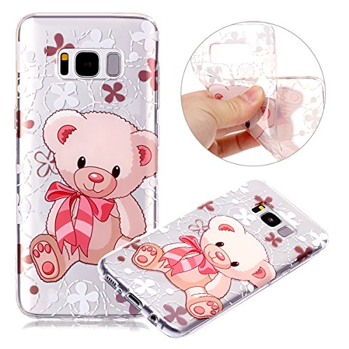 Price comparison product image Galaxy J7 V Case, Galaxy J7 2017 Case, Galaxy J7 Sky Pro Case, Galaxy J7 Perx Case,PHEZEN Pink Cute Bear Design Ultra Thin Soft TPU Gel Rubber Skin Silicone Protective Case Cover