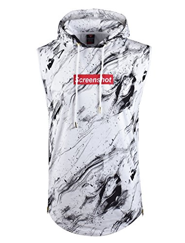 SCREENSHOTBRAND Mens Hip Hop Longline Premium Tee - Pullover Hooded Fashion T-shirt w/Side Zipper