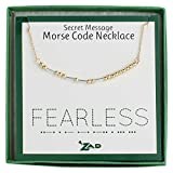 "Zen Styles Women's Morse Code Inspirational Necklace of 'FEARLESS', Two-Tone, Adjustable 16'' - 18"" Inches (Morse Code Fearless)"