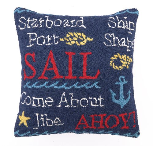 Peking Handicraft Nautical Sail Hook Throw Pillow
