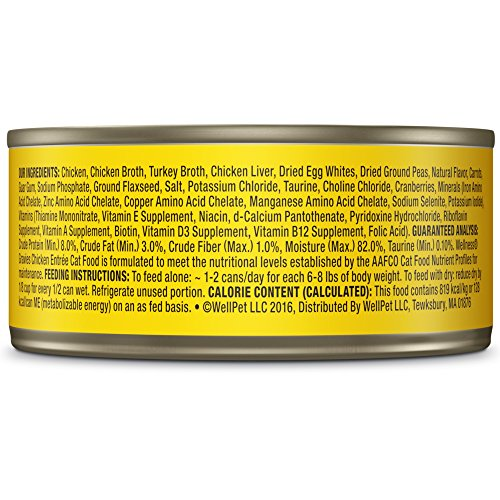 Wellness Complete Health Natural Grain Free Wet Canned Cat Food, Minced Chicken Dinner, 5.5-Ounce Can (Pack of 24)