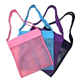 Beach Mesh Tote Bag Sea Shell Sand Toy Bags for Adults Teens Kids 4 Pack by Cooque