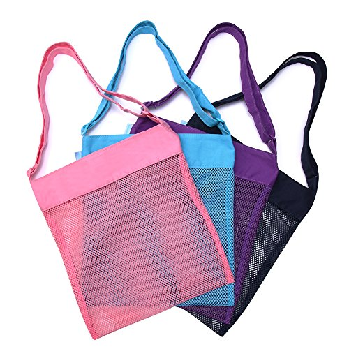 Beach Mesh Tote Bag Sea Shell Sand Toy Bags for Adults Teens Kids 4 Pack by -