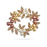 Bling Jewelry Simulated Pearl Christmas Wreath Bridal Brooch Pin Rose Gold Plated
