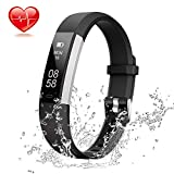 Lintelek Fitness Tracker, Slim Activity Tracker with Heart Rate Monitor, IP67 Waterproof Step Counter, Calorie Counter, Pedometer for Kids Women and Men (Business Black)
