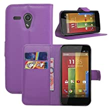 Fettion Motorola Moto G 1st Generation Case, Premium Leather Wallet Case Cover with Stand Card Holder for Motorola Moto G , 2013 Phone (Only Fit 1st Gen) (Wallet - Purple)
