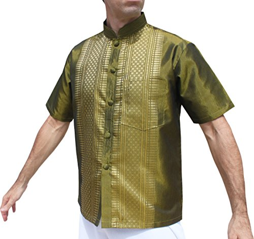 ahMuang Short Sleeve Formal Chinese Woven Motif Silk Shirt, Medium, Olive Green (Chinese Olive)