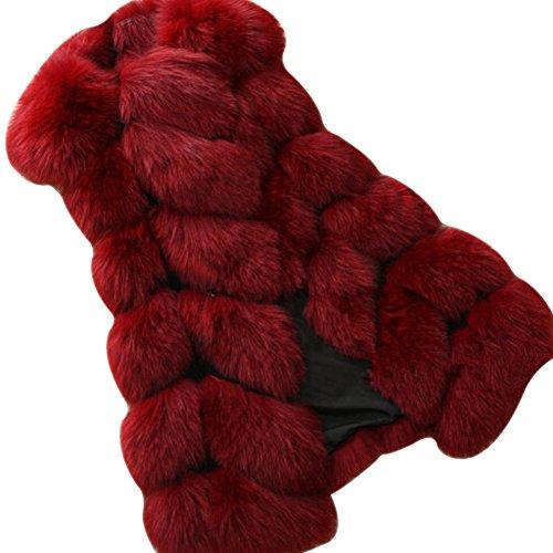 Gilet Manches fausse Manteau Vest Vin Femmes fourrure en sans Rouge pour LaoZan d0wOqxd