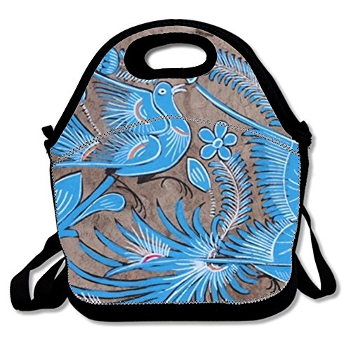 Bark Mexican Painting (NEW MEXICAN AMATE BARK PAINTING Neoprene Lunch Tote, Waterproof Insulated Lunch Bag for Women Girl Adult Great for Picnic Travel Work School)