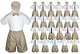 Baby Toddler Boy Wedding Party Suit KHAKI Shorts Shirt Hat Necktie set Sm-4T (4T, Orange)