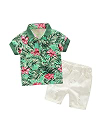 Timall Toddler Boy Short Sleeve Hawaii T-Shirt Top with White Cotton Shorts Set