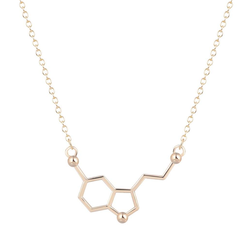 Qiandi Serotonin Molecule Chemistry Geometric Pendant Necklace Minimalist Jewelry Gift for Girls Women XCXLAN087-1