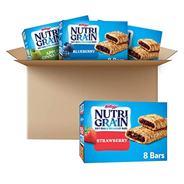 Kelloggs NutriGrain Soft Baked Breakfast Bars Variety Pack Good Source of Vitamins and Minerals lb case Count