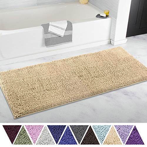 ITSOFT Non Slip Shaggy Chenille Soft Microfibers Bathroom Rug Runner Large Bath Mat with Water Absorbent, Machine Washable, 21 x 47 Inches Beige