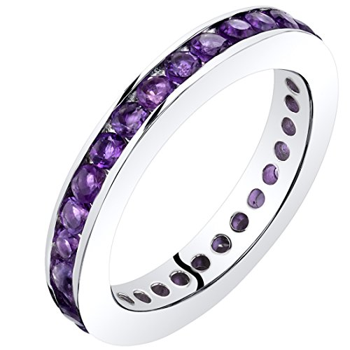 Peora Amethyst Eternity Band Ring Sterling Silver 1.00 Carats Size 8