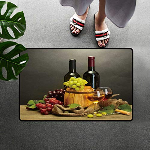 - Amazing Winery Decor Quick-dry Doormat Red And White Wine Barrels Bottles Glasses Grapes on a Wooden Table with Grey Background Large Printed Mats Dirt Trapper Floor Rug Low Profile 31