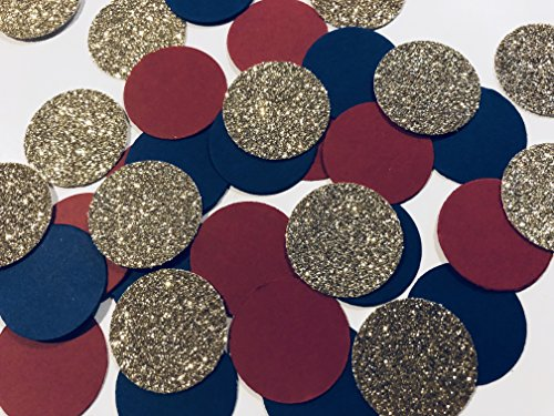 Designs by DH Confetti 100 Pieces Paper Circles Gold Navy Blue Burgundy Wine Birthday Bridal Shower Wedding Party Decor
