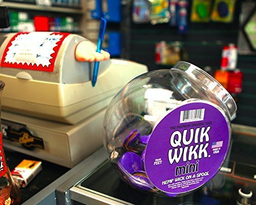 Quik Wikk Mini - 100 Count with Jar - Premium Hemp Wick on a Spool - Tobacco Lighter Natural Butane Free by Quik Wikk (Image #1)