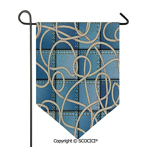 SCOCICI Easy Clean Durable Charming 12x18.5in Garden Flag Various Patches of Denim in Sea with Sailor Knot Rope on Foreground Image Art,Blue Double Sided Printed,Flag Pole NOT -
