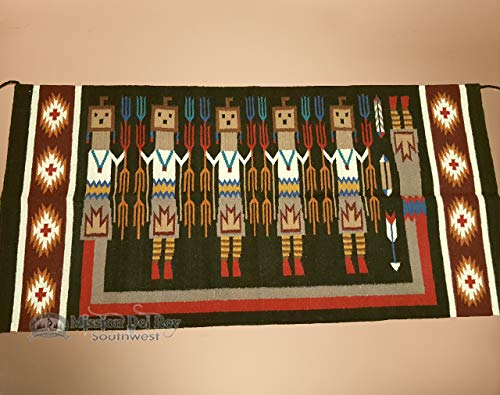 Mission Del Rey Handwoven Wool Rug - Southwestern Tapestry Rug Wall Hanging with Native American Style Navajo Yei Pattern for Western Decor and Southwest Style 32
