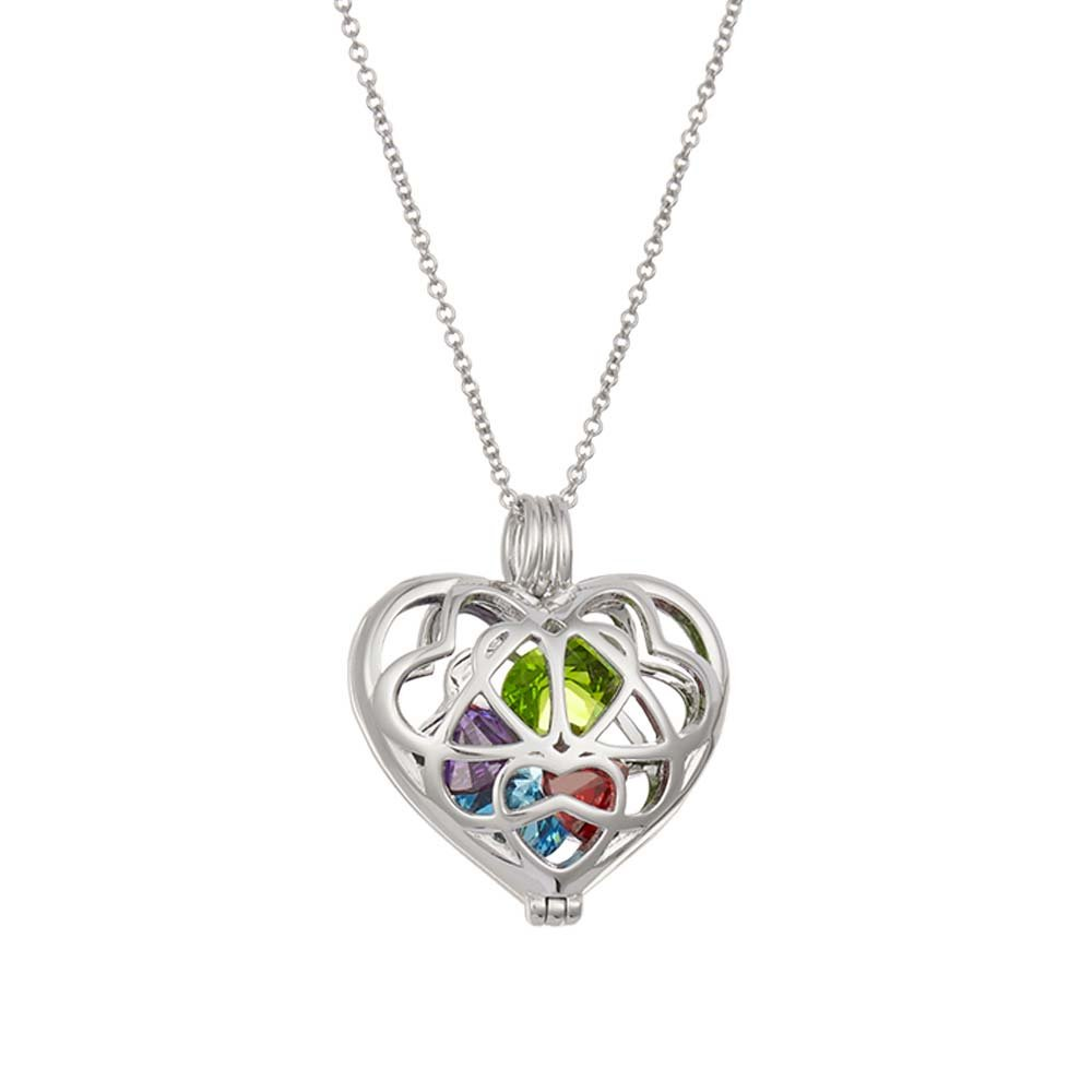 Sterling Silver Personalized 6mm Round Simulated Birthstone Heart Caged Locket (16'' chain)