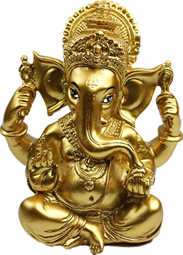 "BangBangDa 6"" H Resin Hindu God Statue Ganesh Figurine India Buddha Elephant Lord Ganesha Sculpture Idol Religious Yoga Studio Decoration Home Décor Diwaling Gifts Wedding Crafts Gift(Gold)"