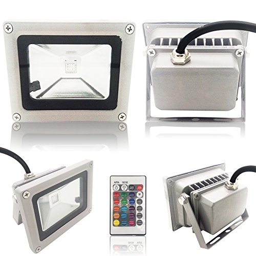Outdoor Security Lights That Plug In: EconoLED Outdoor LED Flood Light, 10W RGB Color Changing
