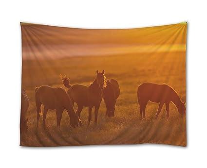Amazon.com: SHADENOV Wall Hanging Tapestry - Horse Fog Light ...
