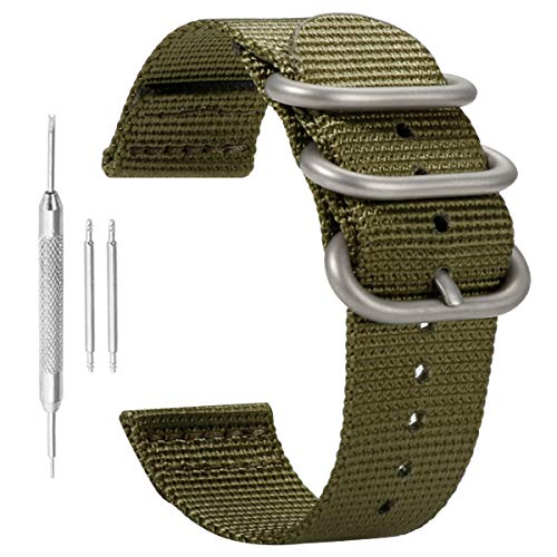 - Luxurious Nylon Watch Straps Bands NATO Style 24mm Replacements for Men Army Green Military Durable
