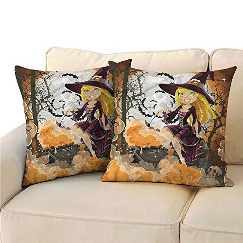 Ediyuneth Pillowcases Queen Size Witch,Girl Preparing Potion Pot 18