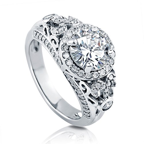 BERRICLE Rhodium Plated Sterling Silver Round Cubic Zirconia CZ Art Deco Halo Engagement Ring 2.62 CTW Size 7